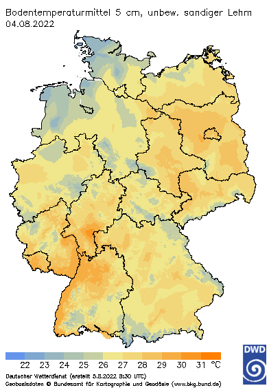 Bodentemperatur in Deutschland